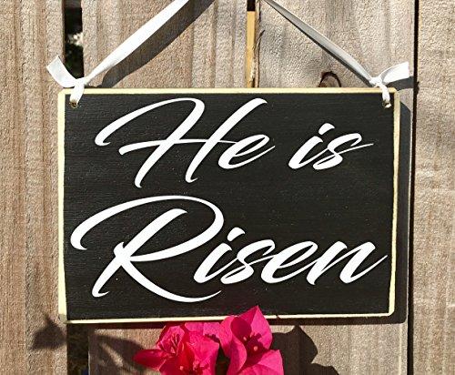 Prim and Proper Decor 8x6 He Is Risen Custom Wood Sign Holiday Happy Easter Jesus Bunny Rabbit Church April Welcome Door Plaque