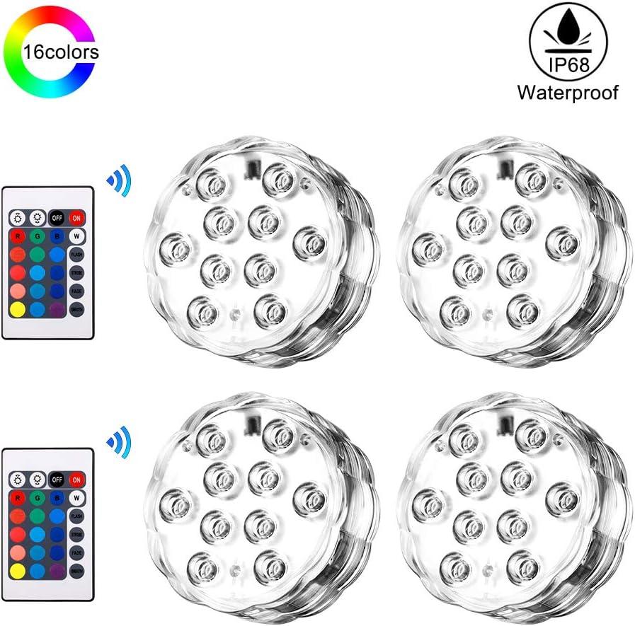 Luz sumergible con mando a distancia, 4 Luces LED Subacuáticas más 2 Mandos a Distancia, Clasificación IP68 Resistente al Agua, 16 Colores Ajustables, Luces Acuario, Jarrón, Estanque
