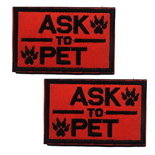 Ultrafun Service Dog Hook & Loop Fastening Tape Patch for Pet Harness Vest - 2 X 3 Inches - Set of 2 (Ask to Pet Orange)