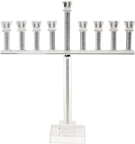 Judaica Place Crystal Oil Chanukah Menorah With Crushed Stones In Tall Straight Stems 20 High Hanukkah Menorah Fits Standard Chanukah Oil Cups Home Kitchen