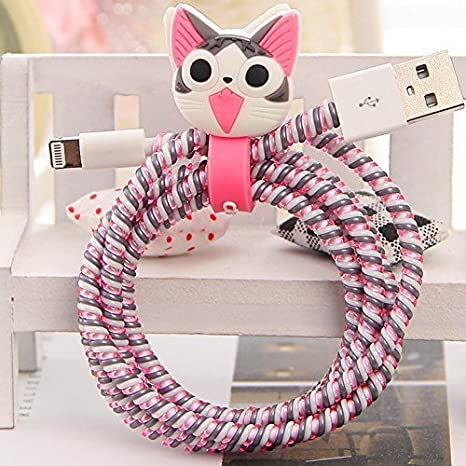 Chronex MEGA Combo 4-in-1 Spiral Wire Cable Protector + Cable Organizer + Cable Wrap + Sticker - Lovely Cheese Cat Audio & Video Accessories at amazon