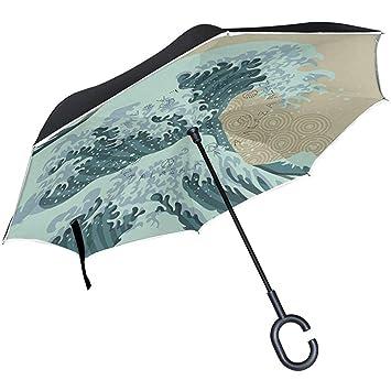 Hermoso Fondo de Olas en Estilo japonés Paraguas invertido ...