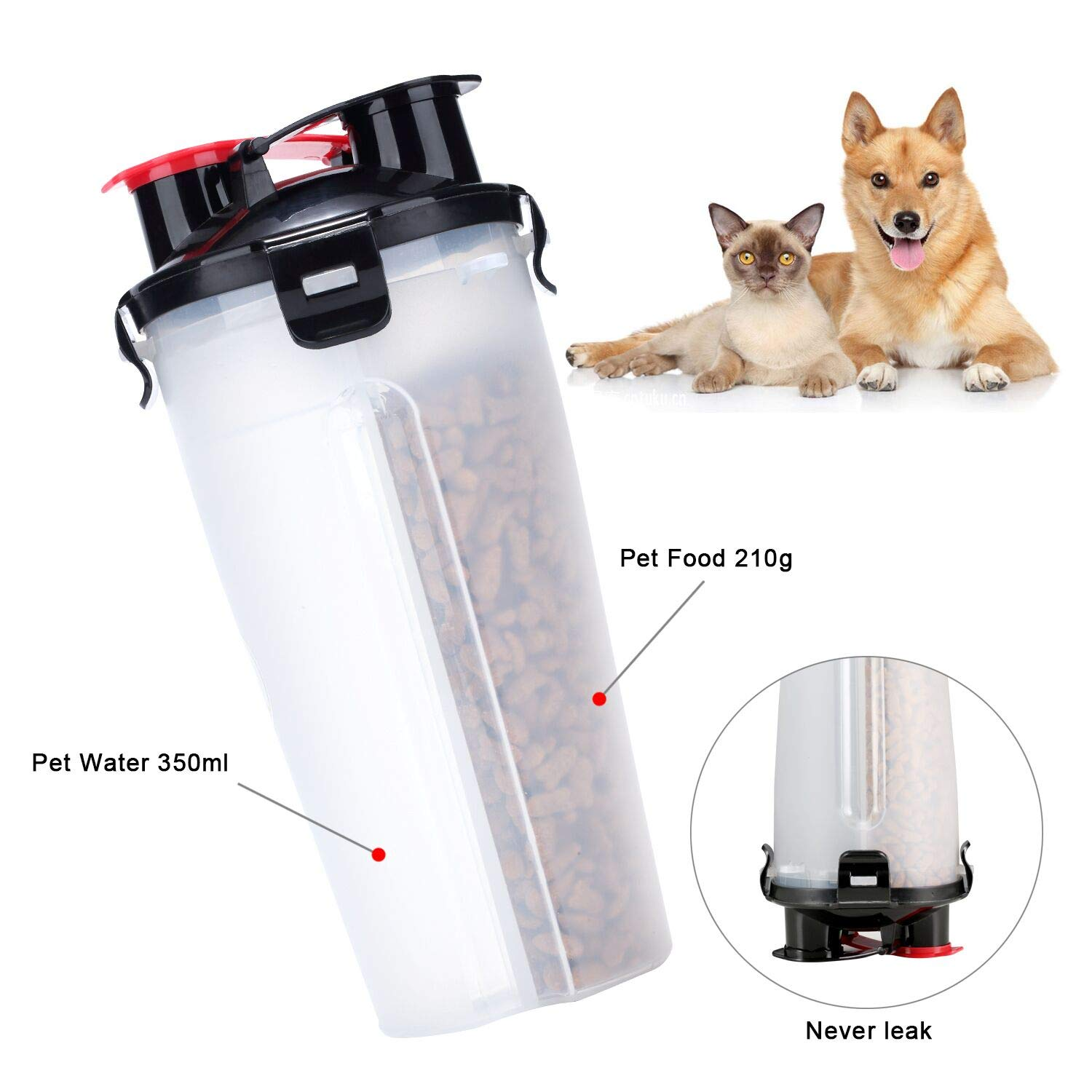 Dog Water Bottle Food Container - VIPpet 2 in 1 Travel Dog Water Dispenser With 2 Collapsible Silicone Bowls for Pets