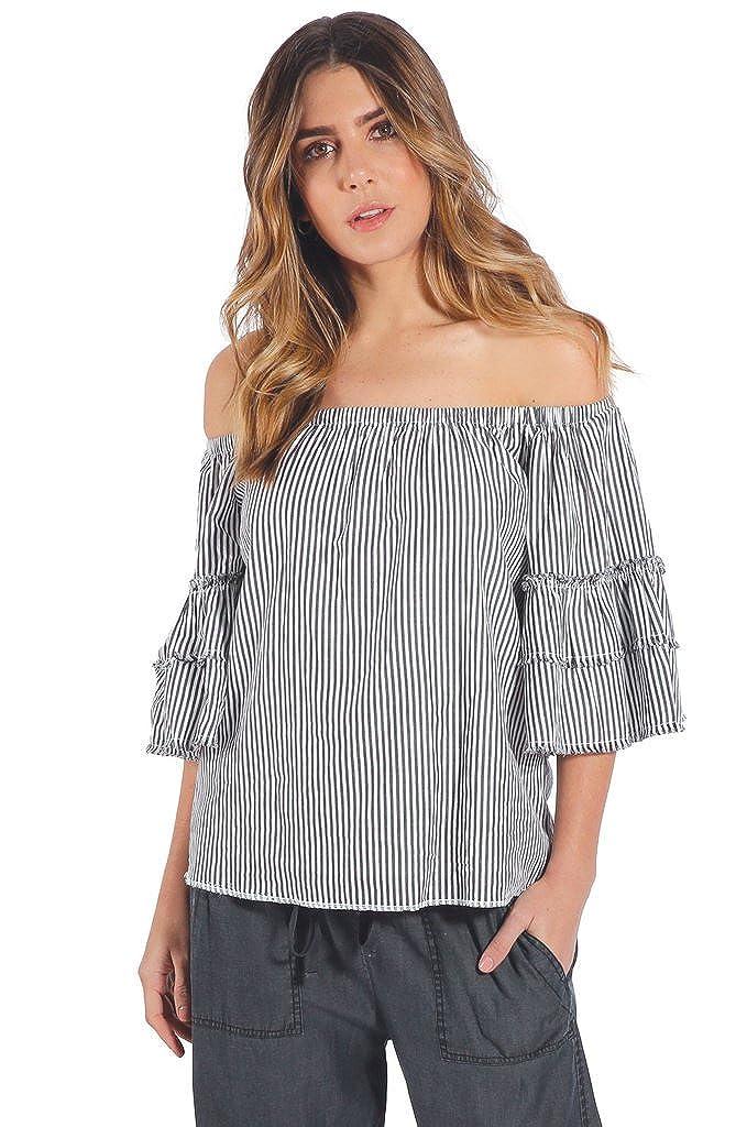 04caa0f793bb ELAN Off Shoulder 3 4 Ruffle Sleeve Top at Amazon Women s Clothing store