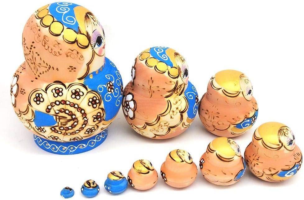 Mu/ñecas Rusas de Nido de Madera decoraci/ón del hogar Hecho a Mano Juego de 10 Juguete apilable para ni/ños a/ño Nuevo Lindos ping/üinos Negros mu/ñecos de Nido de Animales