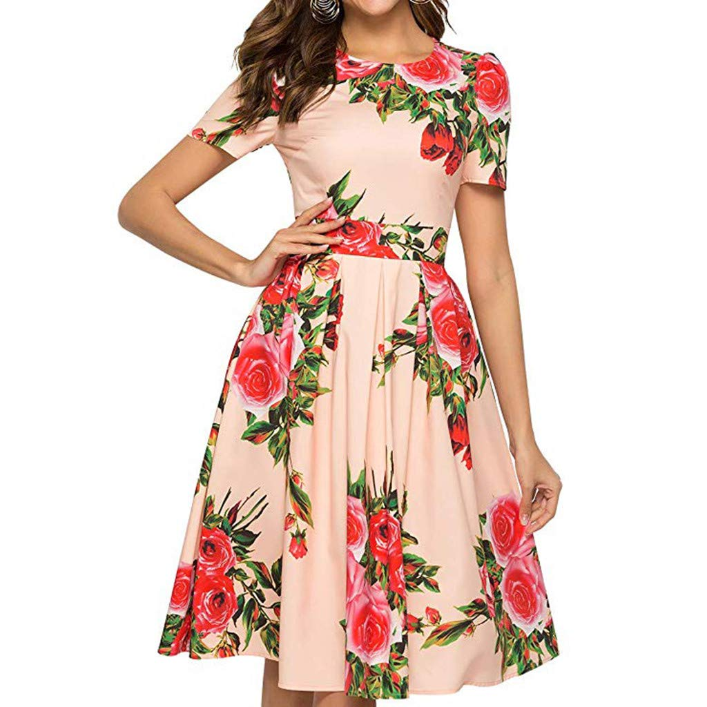 Summer Dresses for Women, Rovinci Women's Short Sleeve O-Neck Casual Swing T-Shirt Dress Women's Day Daily Knee Length Dress Bohemian Rose Flower Printed Fashion Chic Waist Holiday Party Dress
