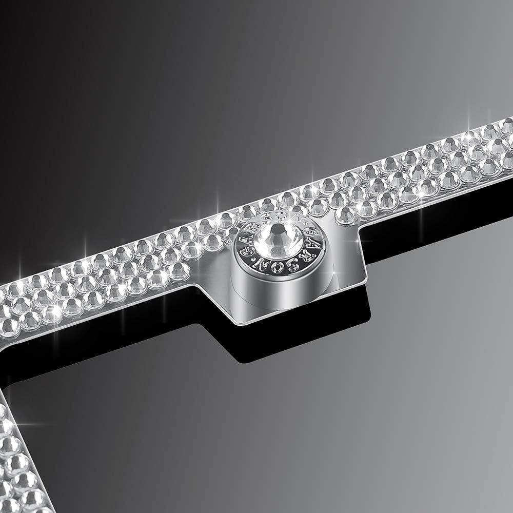 Luxury Handmade Thin Border Stainless Steel Licence Plate Frames for Front Back License Delixike White Rhinestone Bling License Plate Frame for Women Men