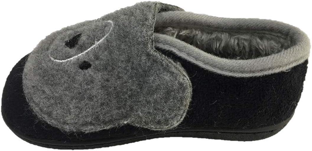 Wonder Nation Little Boys Koala Bear Plush Slippers Size 11//12 Gray Black