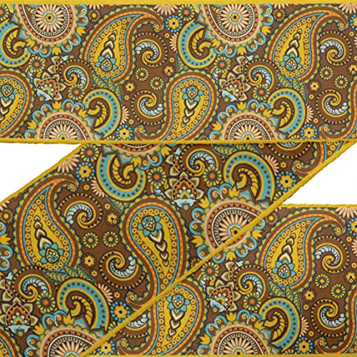 (IBA Indianbeautifulart Brown Artistic Paisley Printed RibbonTrim9 Yards Velvet Fabric Laces for Crafts Sewing Accessories 3 Inches)