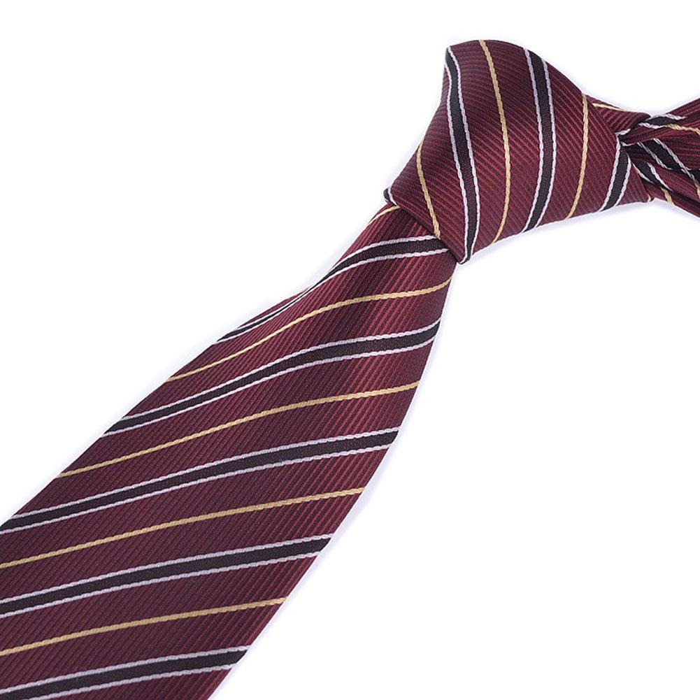 Men Silk Tie in Burgundy with Yellow White Black Stripes HANDMADE Luxury Necktie
