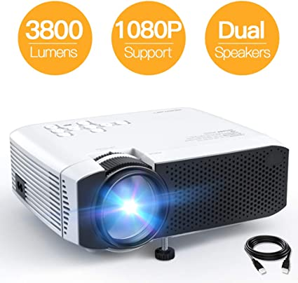 Mini Projector, APEMAN 3800L Brightness Projector, Support 1080P 180