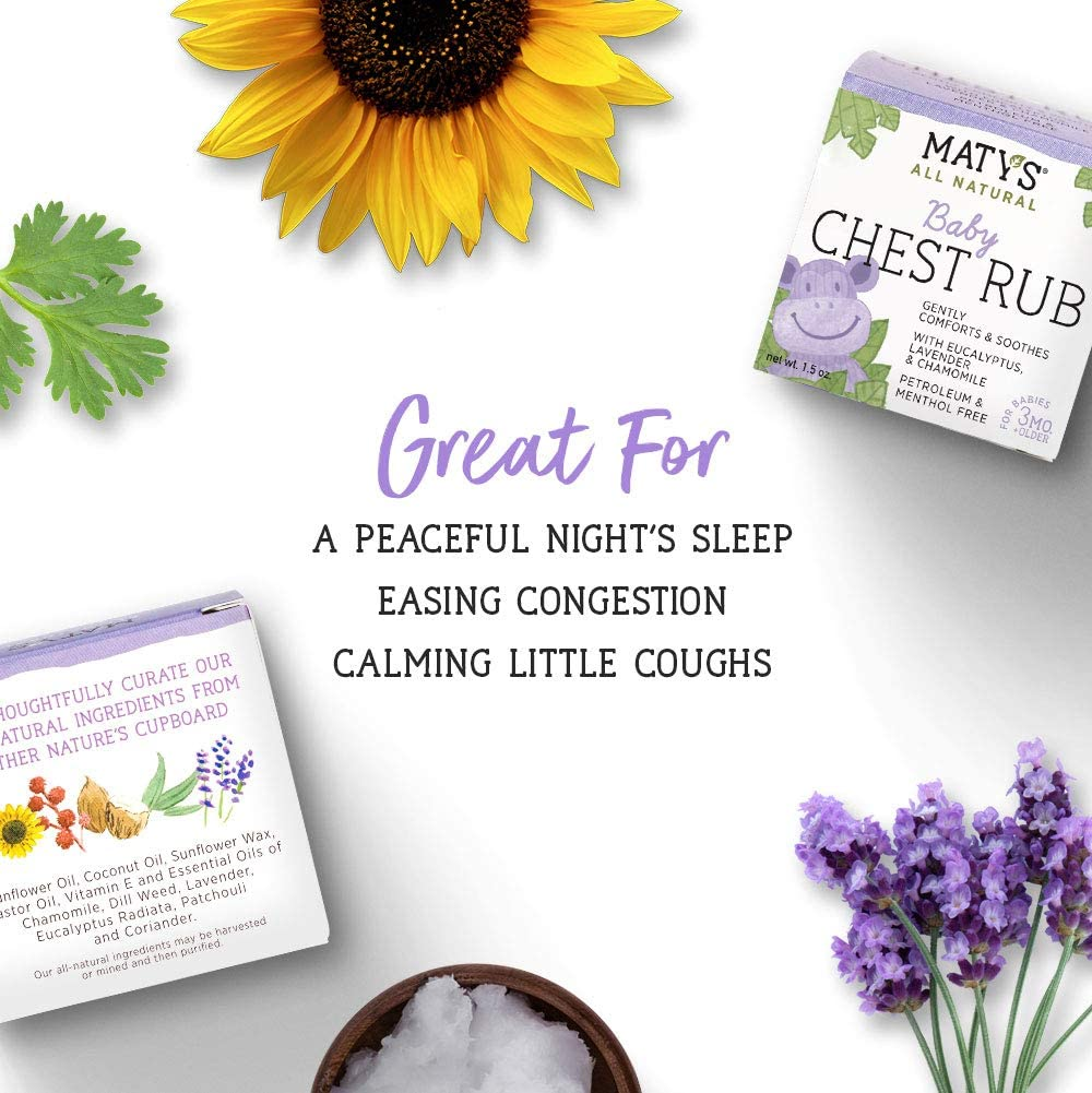 Maty's All Natural Baby Chest Rub 1.5 Oz, Eases Congestion & Soothes to Sleep