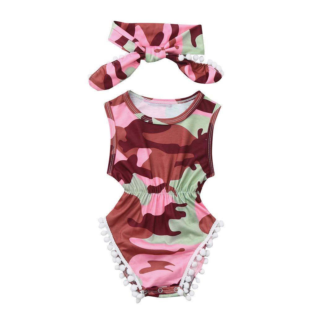 Kingspinner Newborn Toddler Baby Girl Summer Dinosaur Print Sleeveless Bodysuit Romper + Headband Outfits Set (Camouflage, 6-12 Months)