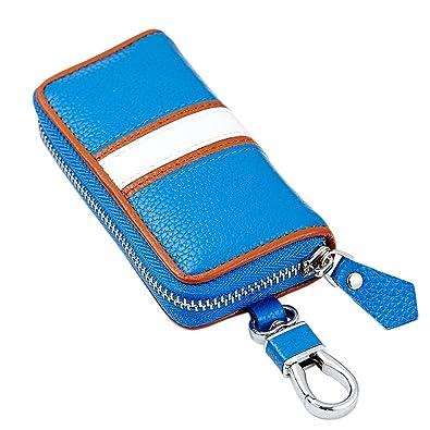 16ccc95b0982 Esdrem Genuine Cowhide Leather Key Case Wallet Car Key Holder with 6 Key  Hooks for Men