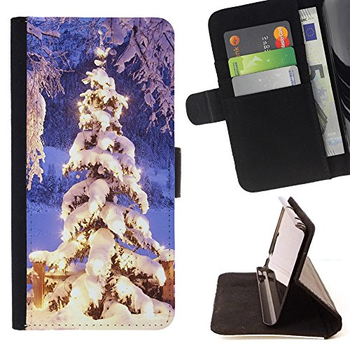 ICE CASE - FOR Apple Iphone 7 - Christmas Tree Decoration - Painting Art Smile Face Style Design PU Leather Flip Stand Case Cover