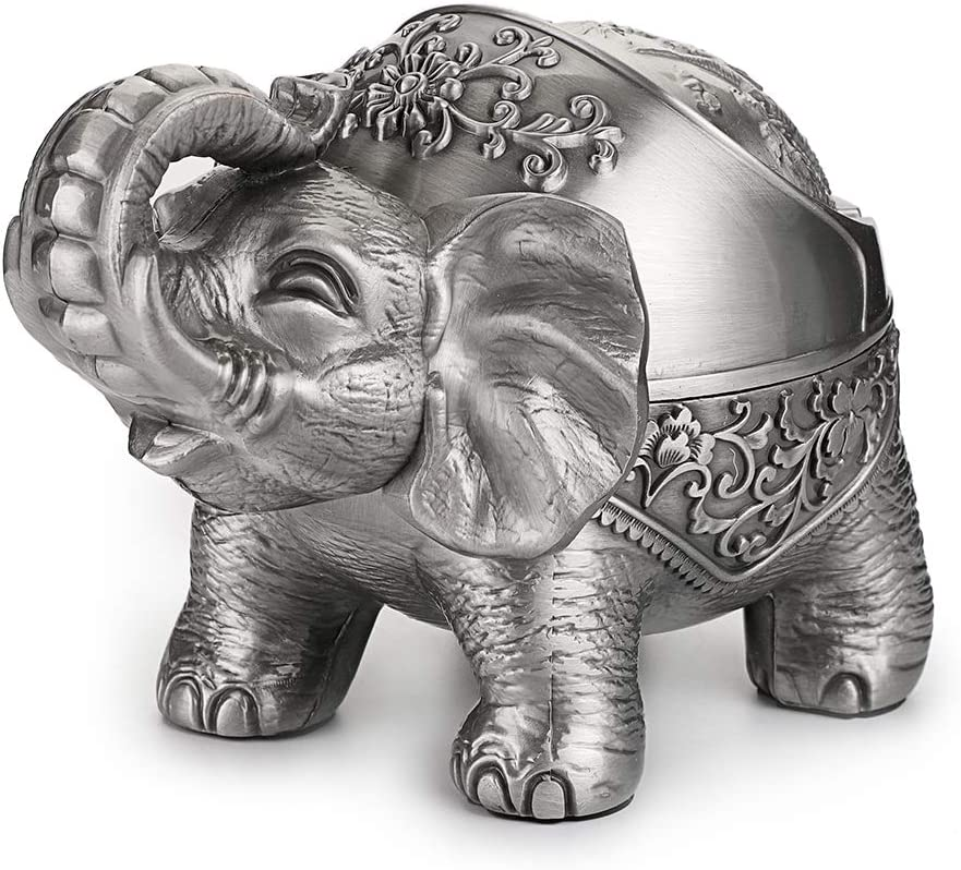 Hipiwe Elephant Windproof Ashtray with Lid, Desktop Metal Cigarette Ashtray Holder for Indoor or Outdoor Use, Unique Tobacco Ash Tray for Patio/Outside/Office/Home Decor,Silver