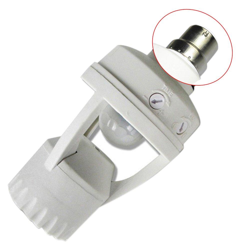 B22 LED PIR Infrared Motion Sensor Screw Light Bulb Holder Lamp Switch Socket Lamp Bases Light Bulb Holder NightLight Adapter Converter White EBILUN