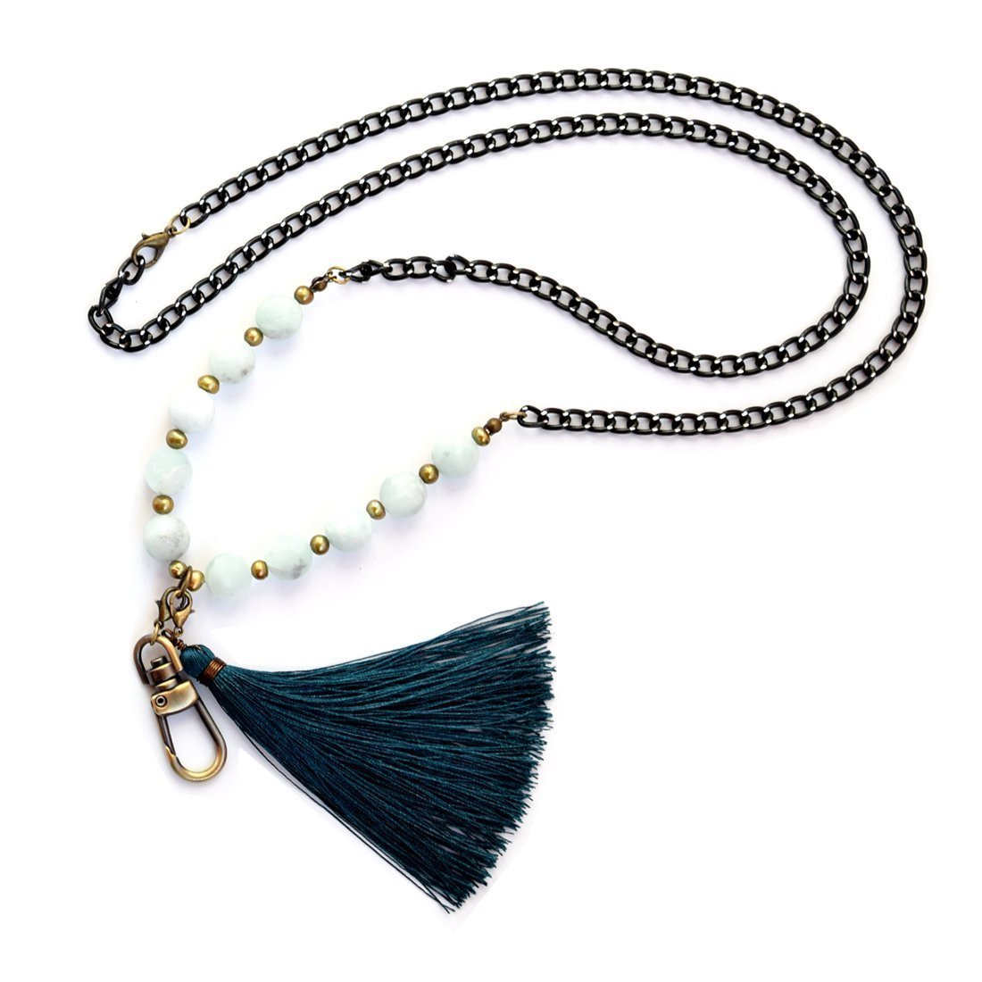 Crimmy - Fashion Beaded ID Holder - Women's ID Badge Holder Necklace with Convertable ID Hook and Tassel