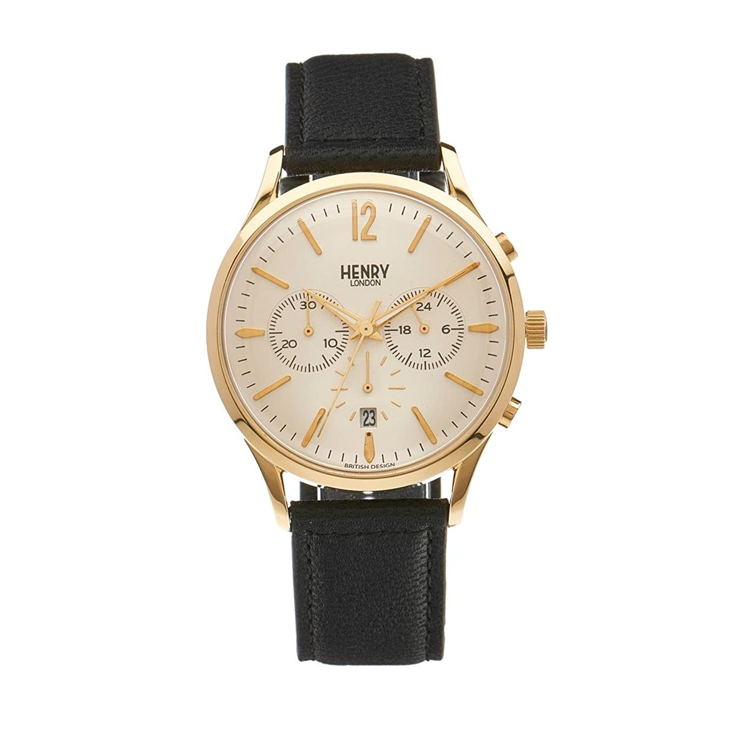 Henry London Unisex-Armbanduhr Westminster Chronograph Quarz Leder HL41-CS-0018