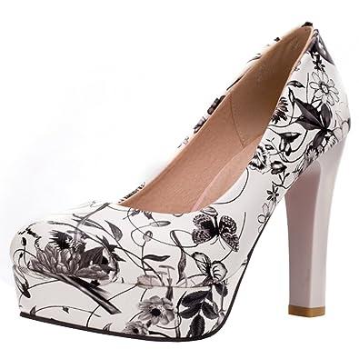 Artfaerie Damen Plateau High Heels Pumps mit Blumenmuster und Blockabsatz Elegant Abend Kleid Schuhe
