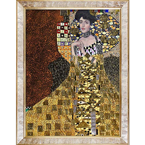 La Pastiche KLG1835-FR-10520030X40 Portrait Of Adele Bloch-Bauer I, 1907 Metallic Embellished Artwork By Gustav Klimt with Gold Mother Of Pearl - Of Mother Pearl Monet