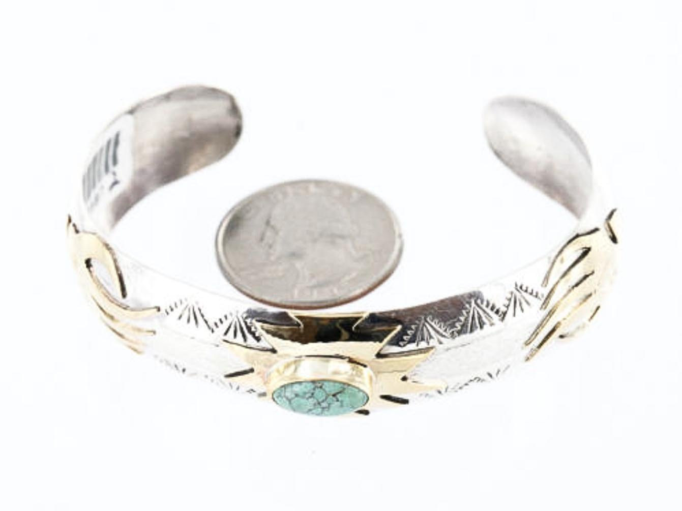 $480 Retail Tag 12kt Gold Filled and Silver Handmade Horse Authentic Genevieve Jones Navajo Turquoise Native American Bracelet by Native-Bay (Image #3)