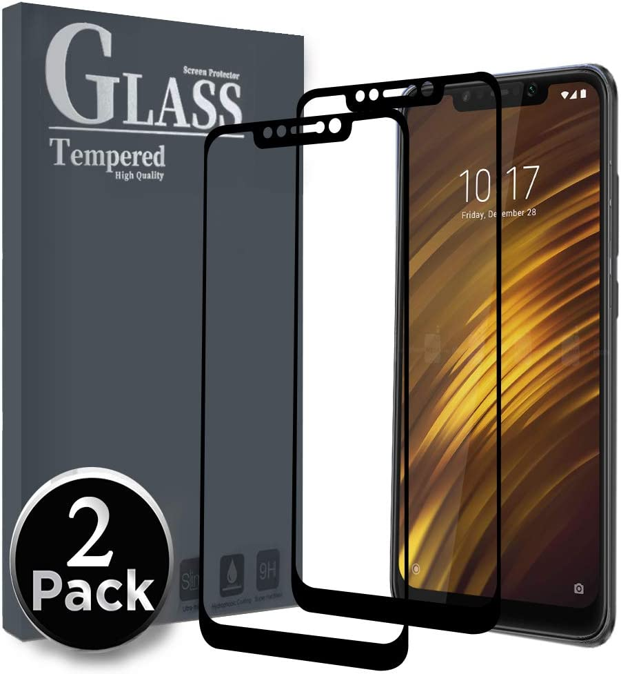 Ferilinso [2 Pack Cristal Templado para Xiaomi Pocophone F1, [Cobertura Completa] [Pegamento Adhesivo Completo] Protector de Pantalla Película Protectora (Negro)