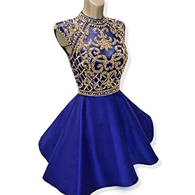 inmagicdress Royal Blue Homecoming Dresses High Neck Short Prom Dress Beaded 131