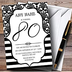 Vintage Damask Black & White 80th Personalized Birthday Party Invitations
