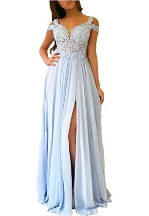 15f50c970732 Dresshine Women's Cap Sleeve Lace Appliques Beaded Chiffon Prom Dress Light  Blue