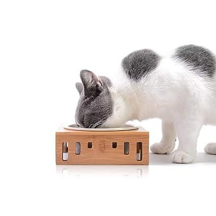Ceramic Gatos Comedero Cuencos Perros Madera Para De Soporte Gato Mascotas Con Elevado Petcute Elevated HIWYE9D2