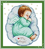 pattern maker for cross stitch - YEESAM ART® New Cross Stitch Kits Advanced Patterns for Beginners Kids Adults - Asleep Angel Baby Boy 11 CT Stamped 33×35 cm - DIY Needlework Wedding Christmas Gifts