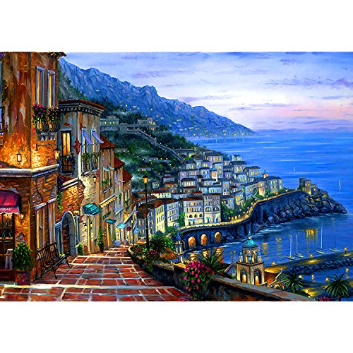 "Artoree DIY 5D Diamond Painting by Number Kit, Full Rhinestone Rubik's Cube Diamond Drill Embroidery Cross Stitch Painting Kit Arts Craft Canvas for Home Wall Decor-Seaside Village 14x19"" by Artoree"