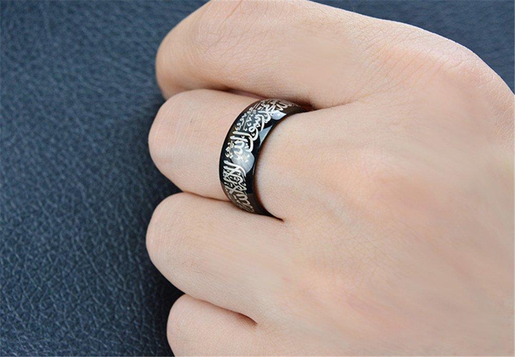 HIJONES Men's Stainless Steel Muslim Islamic Ring with Shahada in Arabic & English Black Size 10 by HIJONES (Image #3)