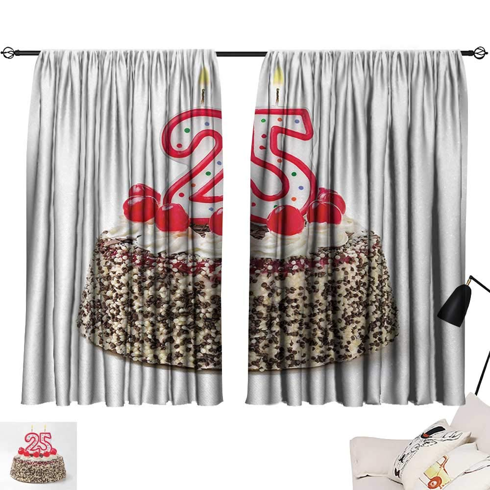 Jinguizi 25th Birthday Curtain Doorway Number Candles Twenty Five on Chocolate Cherry Cake Yummy Artwork Print Window Darkening Curtains Red Cream Brown W55 x L39 by Jinguizi (Image #1)