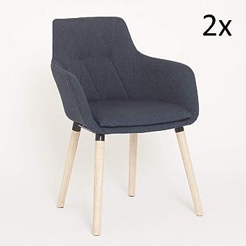 Green Spirit Esszimmerstuhl 2er Set Blau Stoffbezug Polsterstuhl Armlehne Holzbeine Echtholz Massiv Gepolstert Design Stuhl Modell Kopenhagen