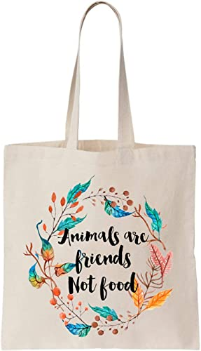 Animals Are Friends Not Food Vegan Algodón Bag Tote Bag: Amazon.es ...