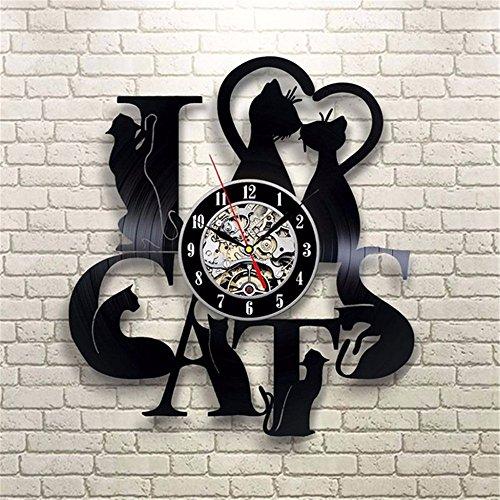 GZMAY Cat Vinyl Record Wall Clock for Living