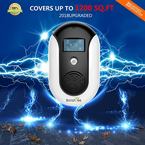 Pest Repellent Ultrasonic Pest Repeller Electronic Control Anti Mouse Plug in Indoor Outdoor Electronic Mosquito Repeller Anti Rodents,Squirrels,Insect,Roach,Spider,Ant,Rat,Flea,Ultrasonic Pest Reject by Bonatree