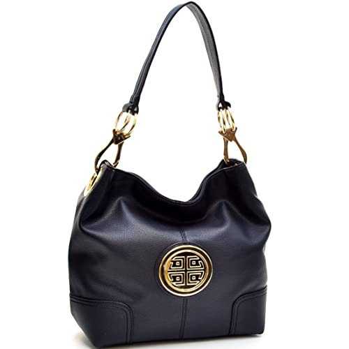 Amazon.com  Dasein Soft Faux Leather Emblem Structured Tote Hobo Shoulder  Bag Handbag Purse of work or shopping with Removable Gold Tone Accented  Clip ... 71b4079fcf148