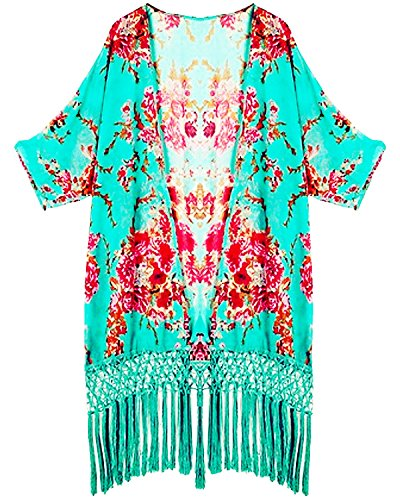 DQdq Women#039s Tassel Kimono Beach Cover Up One Size Floral