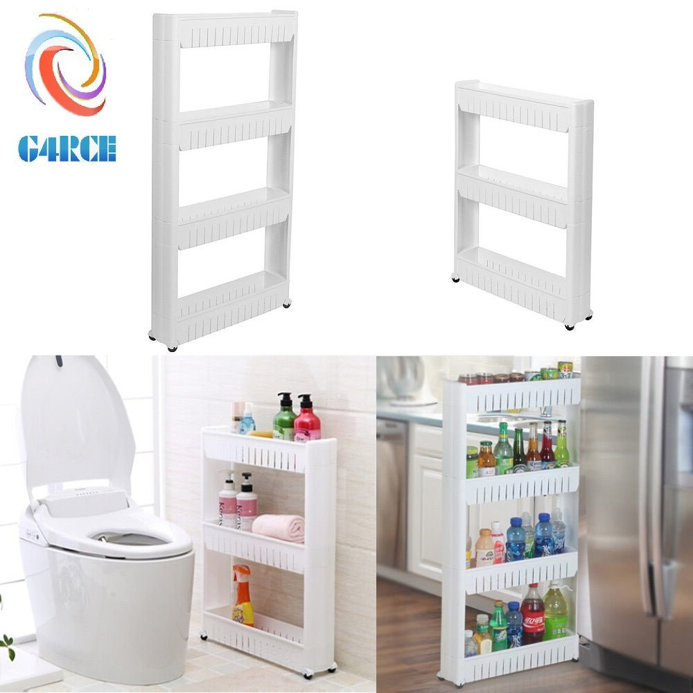 Superb G4RCE 0B HTJW 5KJ0I Slim Slide Out Kitchen Trolley Storage Shelf Organiser  Moving Wall Cabinets Tower Holder Rack On Wheels 3 4 Tier, White:  Amazon.co.uk: ...