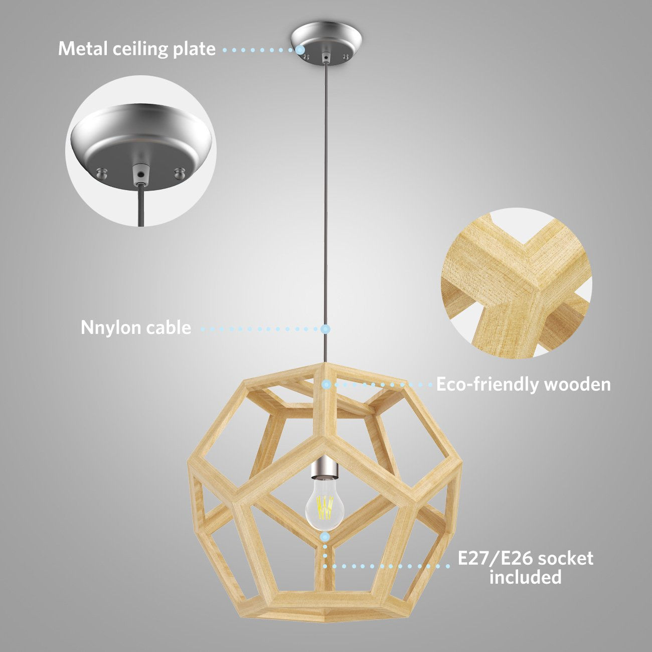 Tomons Hollow Design Wood Ceiling Pendant Lamp, Geometry Shape, E26/E27 Bulb Base, 60 Watts Incandescent Bulb, 12 Watts LED Bulb For Dining Room, Living Room, Bedroom, Study Room - PL1002 by tomons (Image #3)