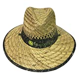 John Deere Brand Camo Straw Hat With Neck Strap