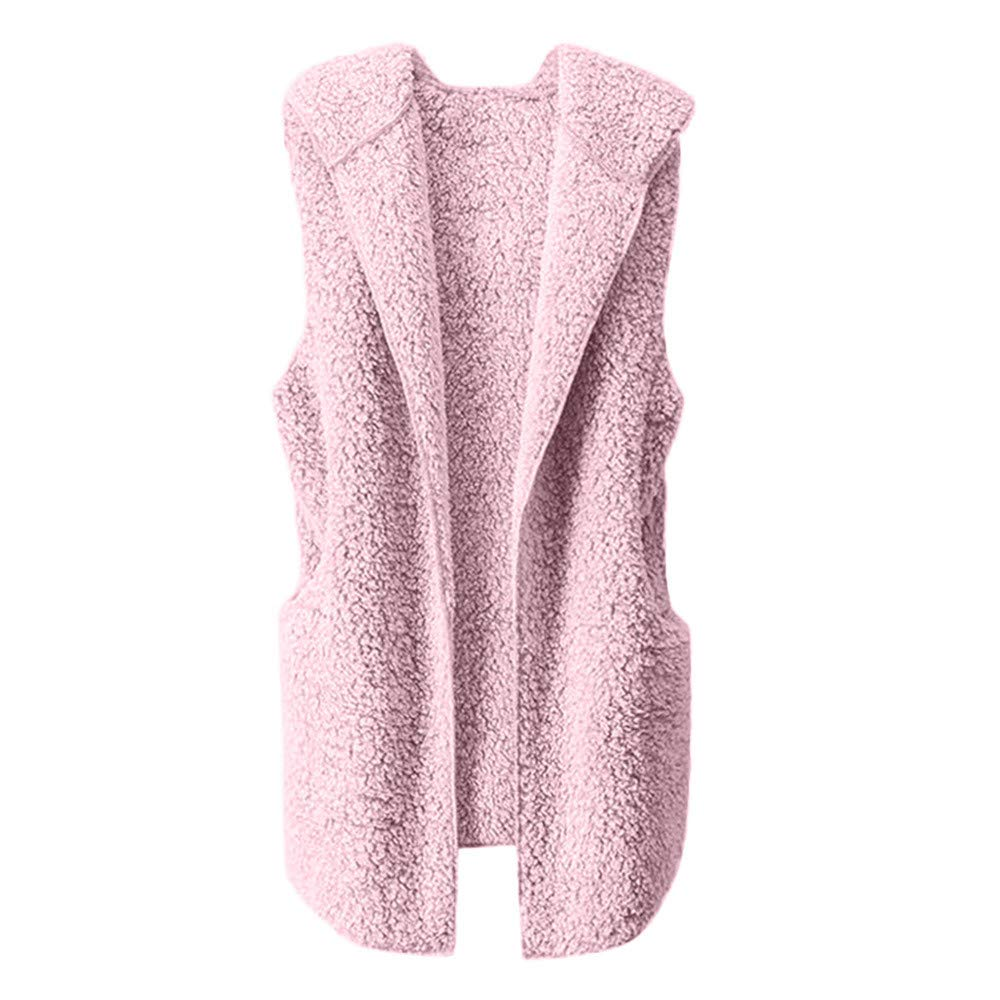 Lmx+3f Womens Plush Vest Winter Warm Hoodie Outwear Casual Sleeveless Coat Jacket Solid Color Soft Comfy Coats Pink