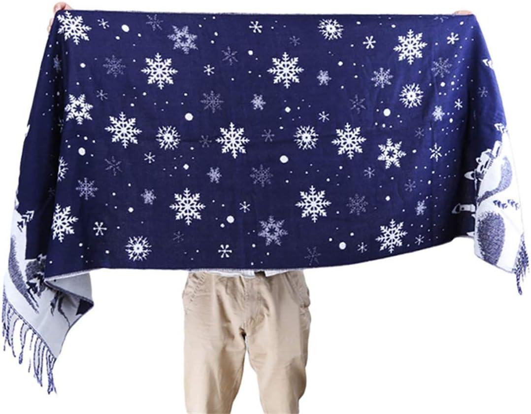 bleu marine LGJJJ /Écharpe de No/ël cadeau /écharpe dhiver oversize unisexe /écharpe dimpression flocon de neige enveloppe chaude avec des glands