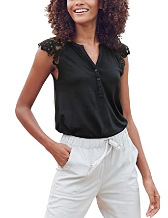 ccd722824330ca Blooming Jelly Womens Henley V Neck T Shirts Sleeveless Button Down Lace  Casual Tank Tops(