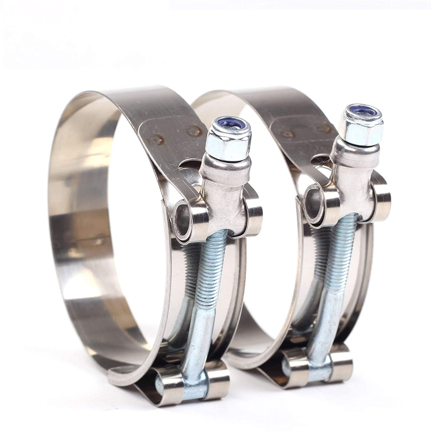 2Pcs,2.75inch 2X 2-3//4 77mm 85mm Stainless Steel T-Bolt Clamps Turbo Intake Intercooler Clamp