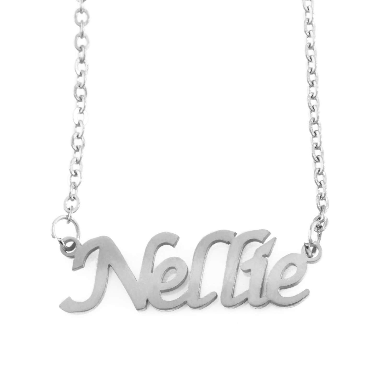 Zacria Nellie Name Necklace Silver Tone