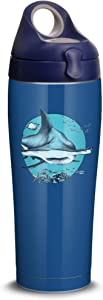 Tervis Mote Marine Hammer Head Shark Stainless Steel Insulated Tumbler with Navy with Gray Lid, 24oz Water Bottle, Silver